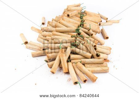 Heap of firework crackers isolated on white background