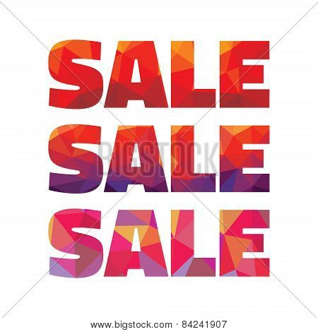 Sale - geometric abstract vector words. Words sale for advertising poster and banner. Sale discount