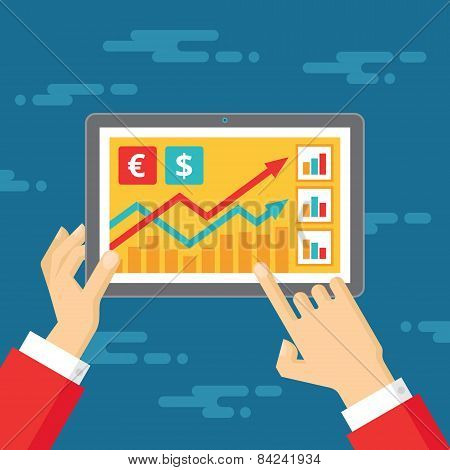 Exchange rates. Human hands and tablet vector concept illustration in flat style design