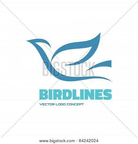 Birdlines - vector logo concept illustration. Bird logo. Dove logo. Abstract lines logo.