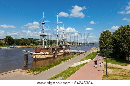 Old Sailing Ship On River Volhov In Novgorod, Russia