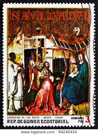 Postage Stamp Equatorial Guinea 1973 Nativity, Painting By Hiero