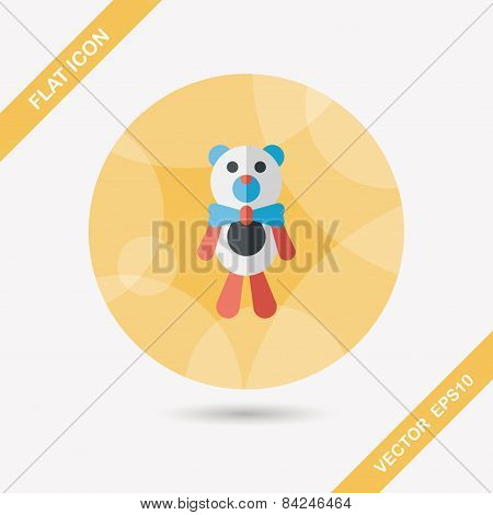 Teddy Bear Flat Icon With Long Shadow,eps10