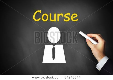 Hand Writing Course On Chalkboard