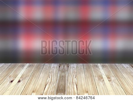 Broad Planks And Colorful Blur Background.
