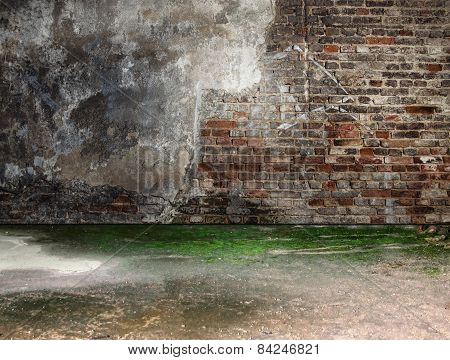 Grungy Room With Bricks  Background. Abandoned Interior