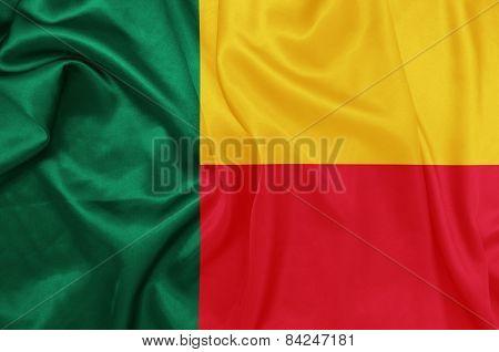 Benin - Waving national flag on silk texture