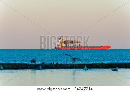 Container Ship In Ocean With Birds And Reflection