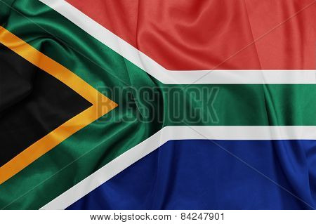 South Africa - Waving national flag on silk texture