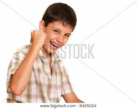 Happy Boy Celebrating Victory