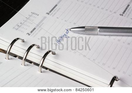 Silver Pen On Open Business Agenda