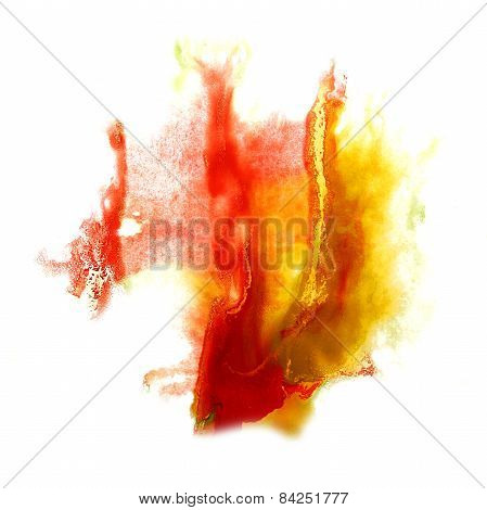 stain red, yellow  with watercolour paint stroke watercolor isol