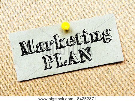 Recycled Paper Note Pinned On Cork Board. Marketing Plan Message. Concept Image