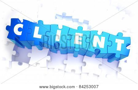 Client - Word in Blue Color on Volume  Puzzle.