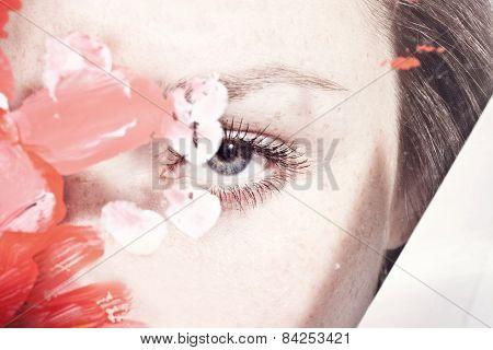 Beautiful Female Eye Through The Dirty Glass