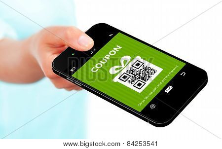 Hand Holding Mobile Phone Spring Discount Coupon Isolated Over White