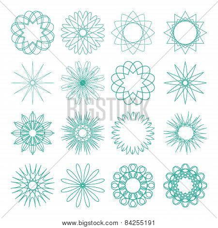Set of different vector sixteen old-fashion patterns