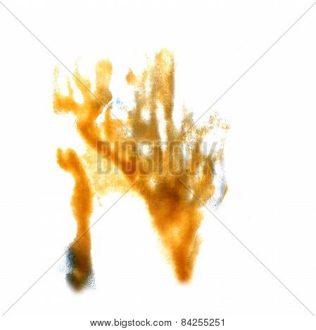 stain with yellow watercolour paint stroke  watercolor isolated