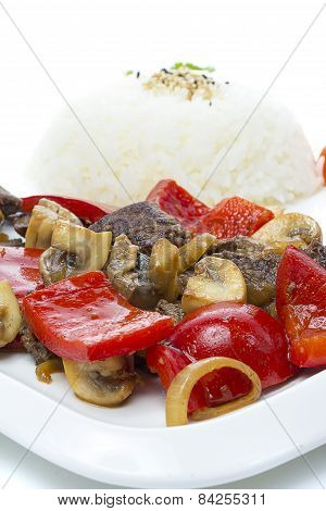 Japanese Cuisine - Rice With  Meat And Mushrooms And Vegetables