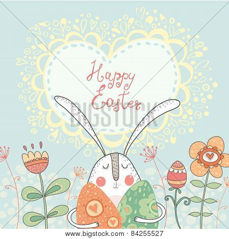 : Bright happy easter card in vector. Funny rabbit with eggs flowers in cute cartoon style. Stylish