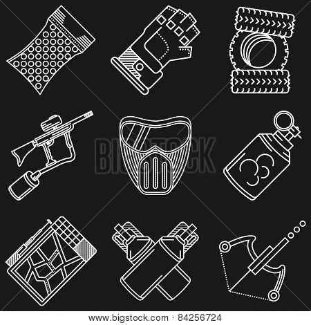 Paintball white line vector icons
