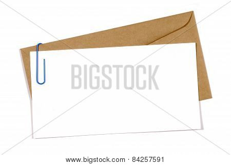 Blank Message Or Invitation Card With Brown Envelope