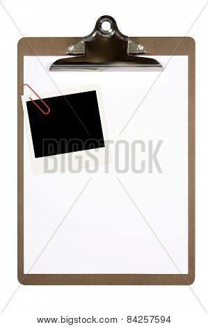 Clipboard With Blank Polaroid