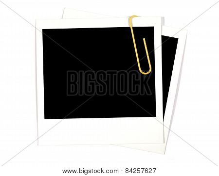 Blank Photo Prints With Yellow Paperclip