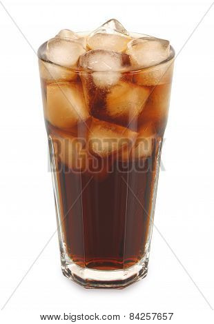 Glass Of Cold Fizzy Cola With Ice