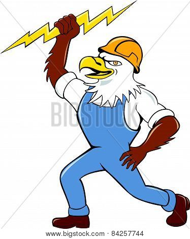 Bald Eagle Electrician Lightning Bolt Standing Cartoon