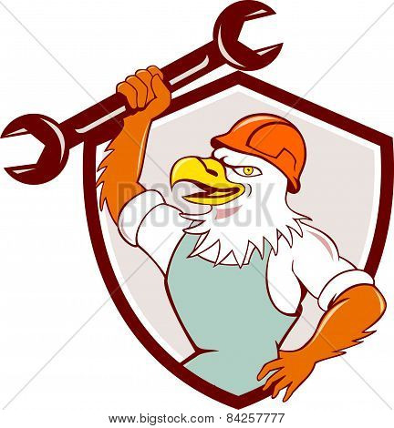 American Bald Eagle Mechanic Spanner Shield Cartoon