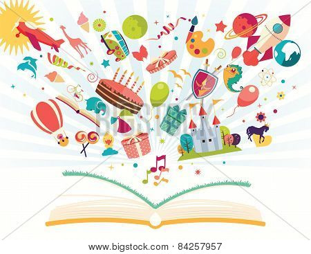 Imagination Concept - Open Book With Air Balloon, Rocket, Airplane Flying Out