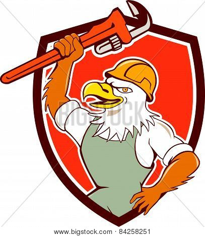 Bald Eagle Plumber Monkey Wrench Shield Cartoon
