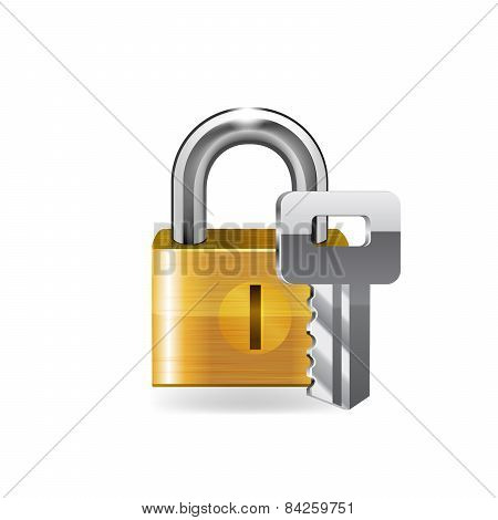 Lock with key.
