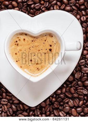 White Coffee Cup Heart Shaped With Cappucino