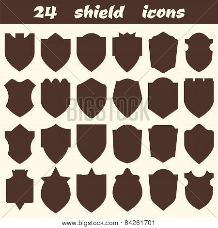 24 Shield Icons. Set Of Different Shield Shapes Icons, Borders, Frames, Labels, Badges