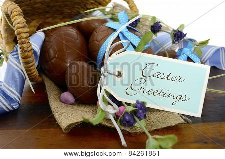 Chocolate Easter Eggs in Basket
