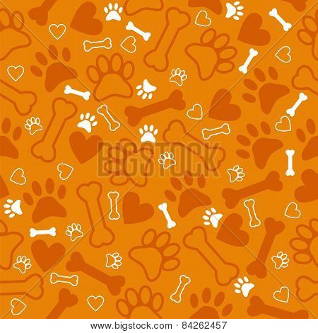 Seamless Pattern With Dog Paw Print, Bone And Hearts. Orange Background