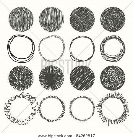 Set Of Hand Drawn Circles. Vector Design Elements