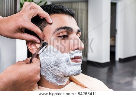 Shave at the barber shop