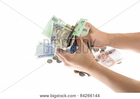 Hand Hold The Several Kind Of Bank Notes And Coin