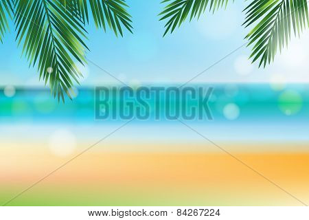 Summer Time At The Beach With Coconut Leaf On Top