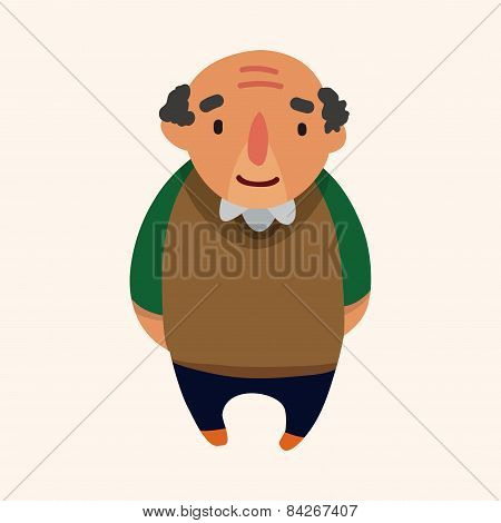 Family Grandfather Character Flat Icon Elements Background,eps10