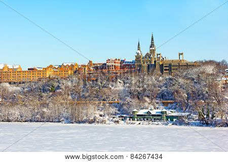 A view on Georgetown University after snow storm.