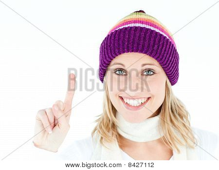 Positive Woman Showing Up Smiling At The Camera