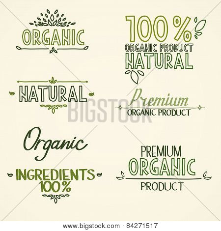 organic health food headings natural product nature-themed badges and labels with green leaves hand