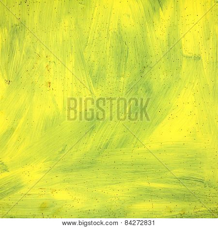 Abstract Textured Background Grunge Rusty Metal Surface Painted With Bright Yellow Paint. Great Back