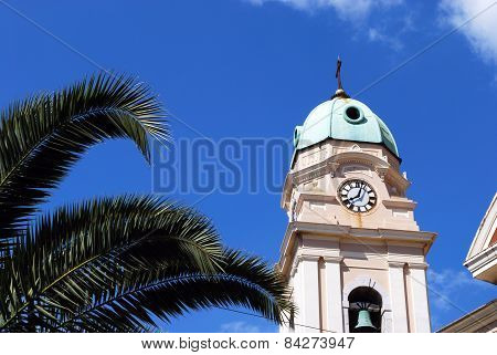 Gibraltar Cathedral clock tower.