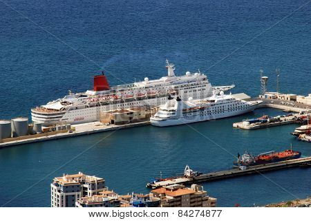 Cruise ships in port, Gibraltar.