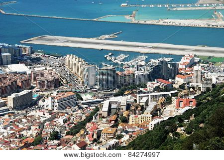 View of town and runway, Gibraltar.